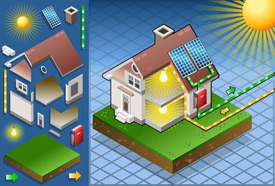 tekening huis zonnepanelen